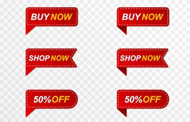 Oferta de venda com desconto com fita vermelha