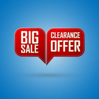 Oferta de venda de bolha vermelha e design de grande venda