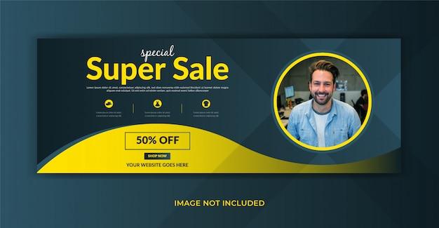 Oferta de venda de moda post de mídia social página de capa do facebook timeline web design de banner de anúncio