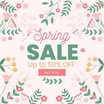 Oferta de venda de primavera de banner de design plano