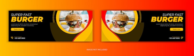Oferta de venda de restaurante de comida em mídia social postagem página de capa do facebook linha do tempo online