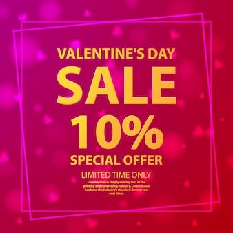 Oferta de venda do dia dos namorados 10%. cartaz do mercado de loja. corações rosa de fundo. vetor plana de presente de panfleto.