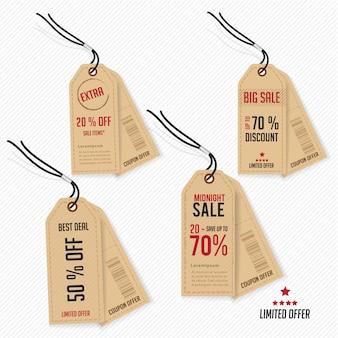Oferta e promoção de preço de etiqueta.