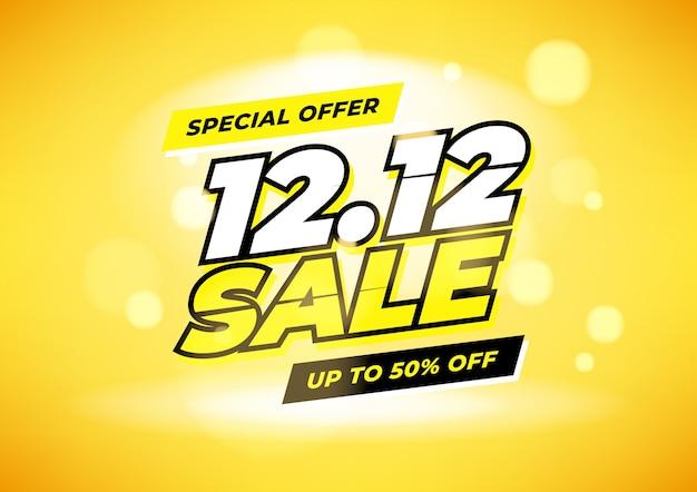 Oferta especial 12.12 design de cartaz ou folheto de venda do dia de compras.