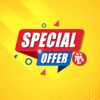 Oferta especial banner design template com fundo amarelo