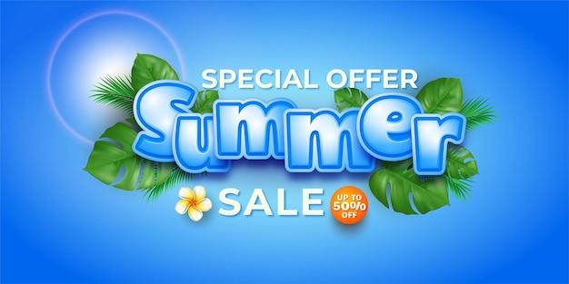 Oferta especial banner tropical para liquidação de verão
