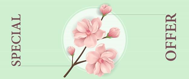 Oferta especial banner vertical com galho de florescência rosa e círculo branco
