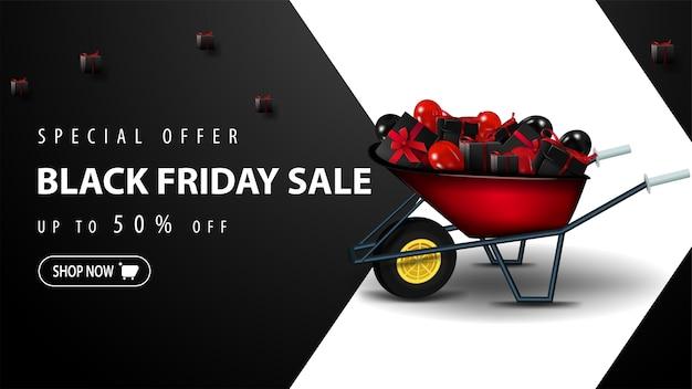 Oferta especial, black friday sale, até 50% de desconto, modelo de desconto preto para site com uma grande seta branca, carrinho de mão com presentes e botão