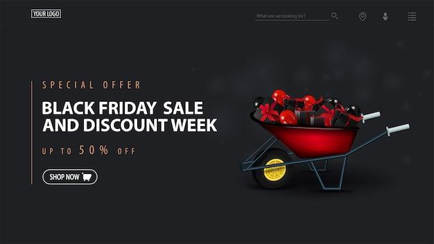 Oferta especial, black friday sale e semana de desconto, banner escuro de desconto