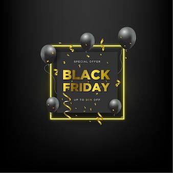 Oferta especial da promoção black friday com balão preto e efeito retângulo neon