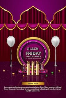 Oferta especial da promoção de luxo na sexta-feira negra, perfume banner dourado
