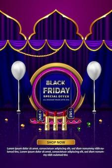 Oferta especial da sexta-feira negra com desconto de batom até banner