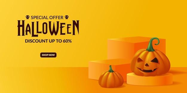 Oferta especial de abóbora 3d jack o lantern para promoção de festa de halloween com modelo de banner publicitário de exibição de pódio de palco