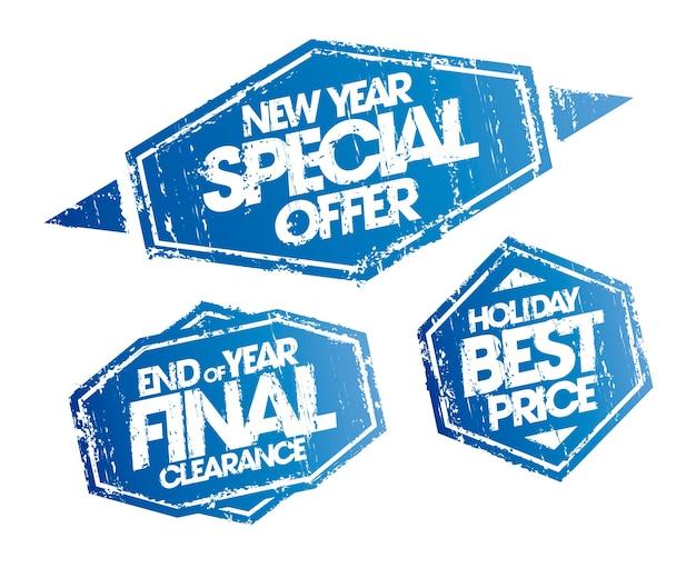 Oferta especial de ano novo, liberação final de final de ano e selos de melhor preço de feriado