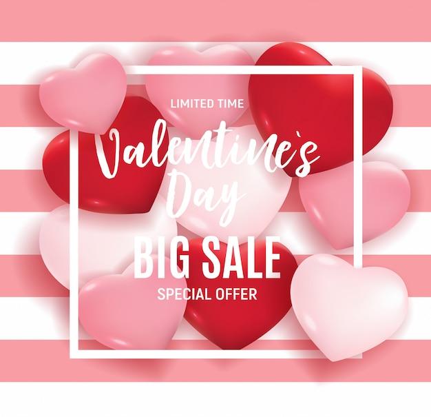 Oferta especial de banner de grande venda do dia dos namorados