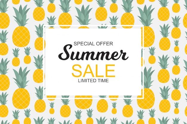 Oferta especial de banner de venda de verão com abacaxis