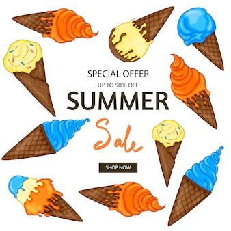 Oferta especial de banner de venda de verão