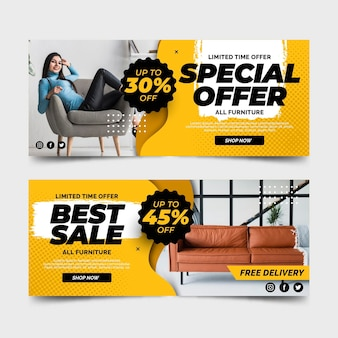 Oferta especial de banners de venda de móveis