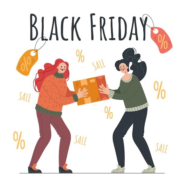 Oferta especial de desconto de venda de personagem de duas pessoas black friday