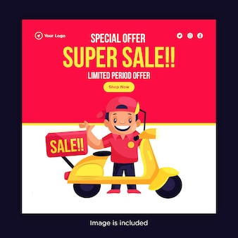 Oferta especial de design de banner de super venda com entregador indo para entrega