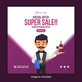 Oferta especial de design de banner de super venda com garçom segurando uma garrafa de bebida