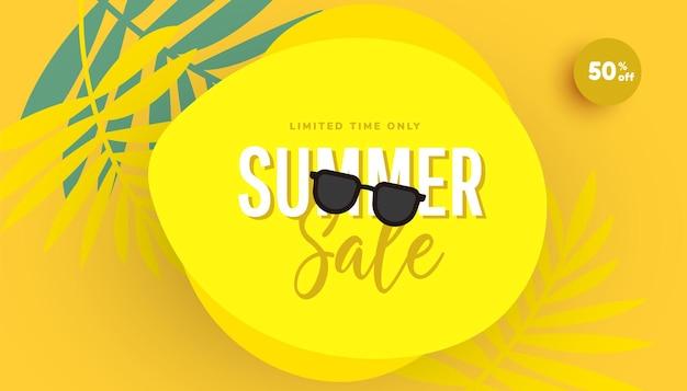 Oferta especial de design de banner de venda na moda texto e óculos de sol