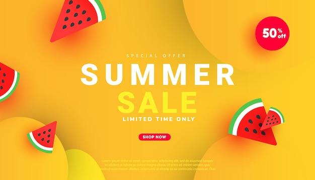 Oferta especial de design de modelo de banner de venda na moda com texto e fatias de melancia vermelha