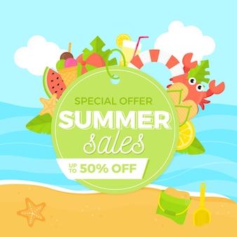 Oferta especial de design plano de vendas de verão