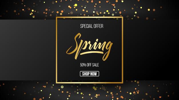 Oferta especial de fundo de venda de primavera com fonte de caligrafia