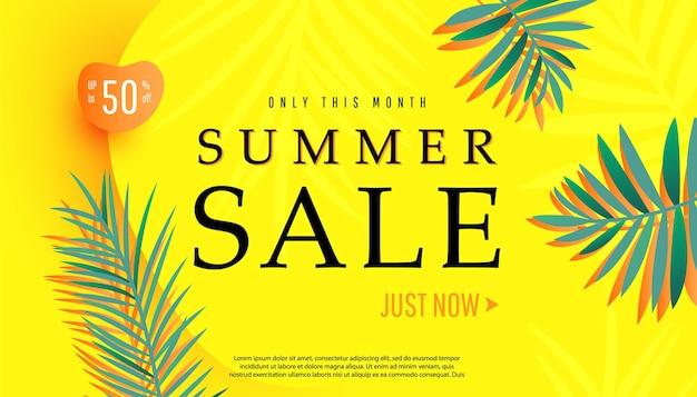 Oferta especial de grande promoção criativa de verão com formatos de bolhas e desconto