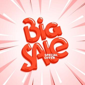Oferta especial de grande venda. inscrição de letras