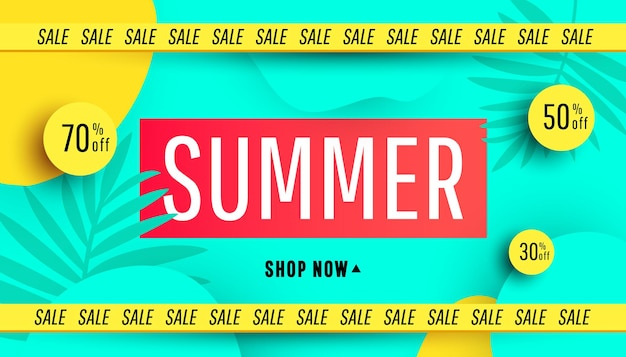 Oferta especial de grandes promoções de banner de liquidação de verão