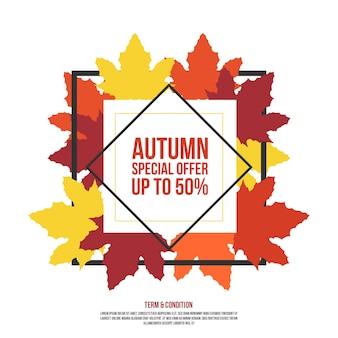 Oferta especial de outono com folhas