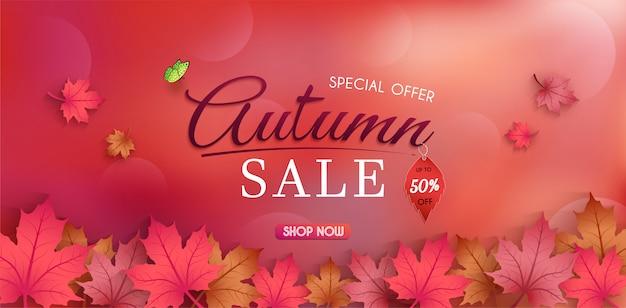 Oferta especial de outono. e banner de vendas design. com folhas de outono sazonais coloridas.