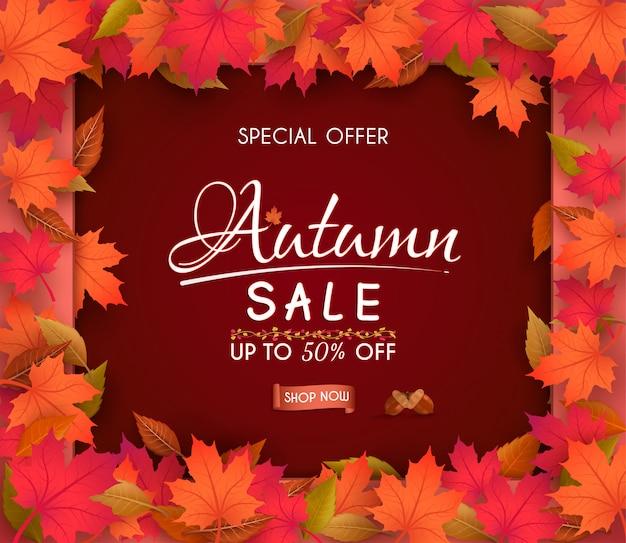 Oferta especial de outono venda banner design. com folhas de outono sazonais coloridas.