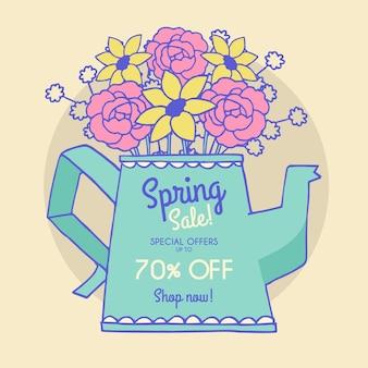 Oferta especial de primavera desenhada de mão