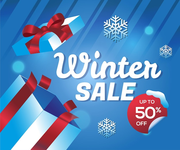 Oferta especial de promoção de inverno com fundo de caixa de presente