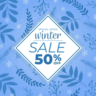 Oferta especial de promoção de inverno desenhada à mão