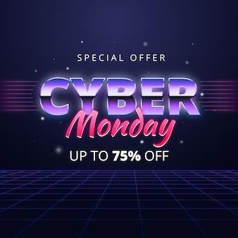 Oferta especial de segunda-feira cibernética futurística retro