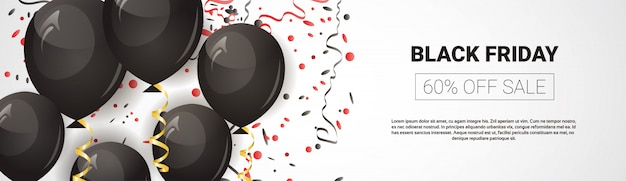 Oferta especial de sexta-feira negra, banner de venda panorâmica horizontal com balões de ar e modelo de texto