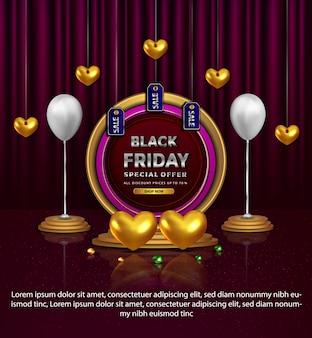 Oferta especial de sexta-feira negra elegante com banner dourado de amor