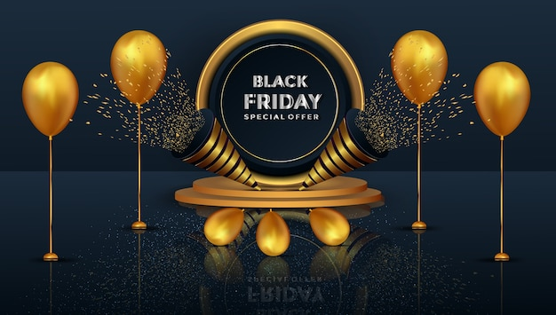Oferta especial de sexta-feira negra realista com pódio dourado