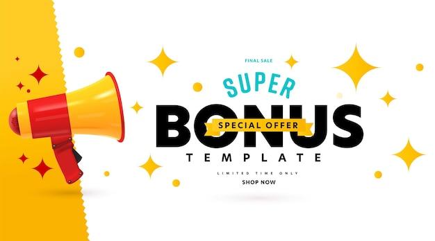 Oferta especial de super bônus de publicidade em banner na venda final.