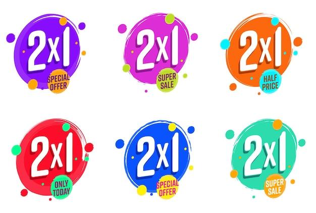 Oferta especial de super venda com conjunto de etiquetas de desconto 2x1 hoje.