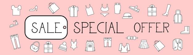 Oferta especial de venda banner horizontal fundo com padrão de roupas de linha fina