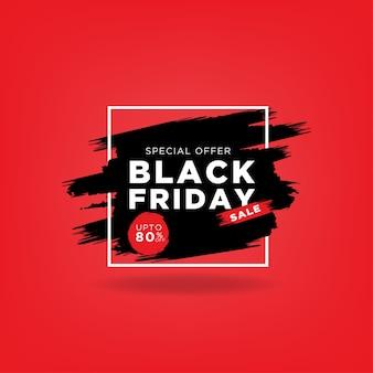 Oferta especial de venda black friday com pincel preto e retângulo de linha