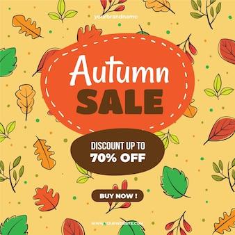 Oferta especial de venda de outono desenhada de mão
