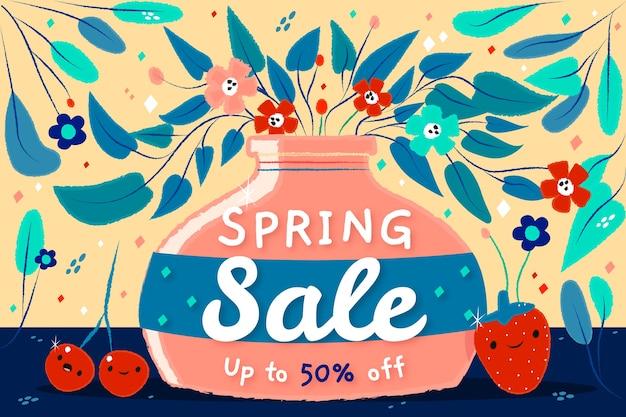 Oferta especial de venda de primavera de mão desenhada