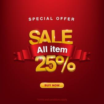 Oferta especial de venda de todos os itens até 25%