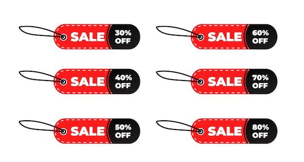 Oferta especial de venda e conjunto de etiquetas de preço
